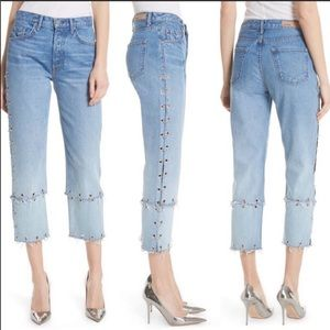 NWT Grlfrnd helena grommet straight crop Jeans 32